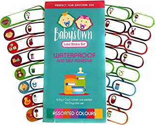 Baby Bottle and Belonging Labels for Daycare, Waterproof Write On Labels, Two Sizes, Assorted Colors, Pack of 64