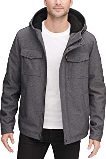 mens Soft Shell Two Pocket Sherpa Lined Hooded Trucker Jacket