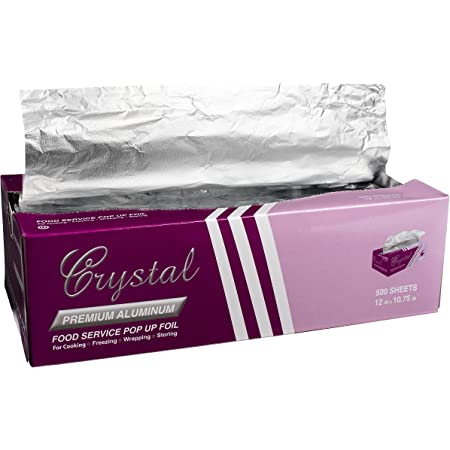 """Crystal by crystalware FPU12103000B Premium Aluminum Foil Pop Up Sheets, 12"""" x 10.75"""", 500 Sheets"""