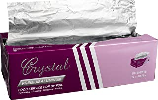 "Crystal by crystalware FPU9103000B Premium Aluminum Foil Pop Up Sheets, 9"" x 10.75"" 500 Sheets"