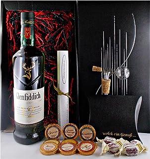 Geschenk Glenfiddich 12 Jahre Single Malt Whisky  Glaskugelportionierer  Edelschokolade  Fudge