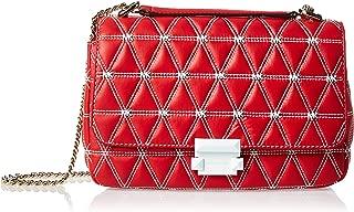 Sloan Logo Studded Large Chain Shoulder Bag, Bright Red