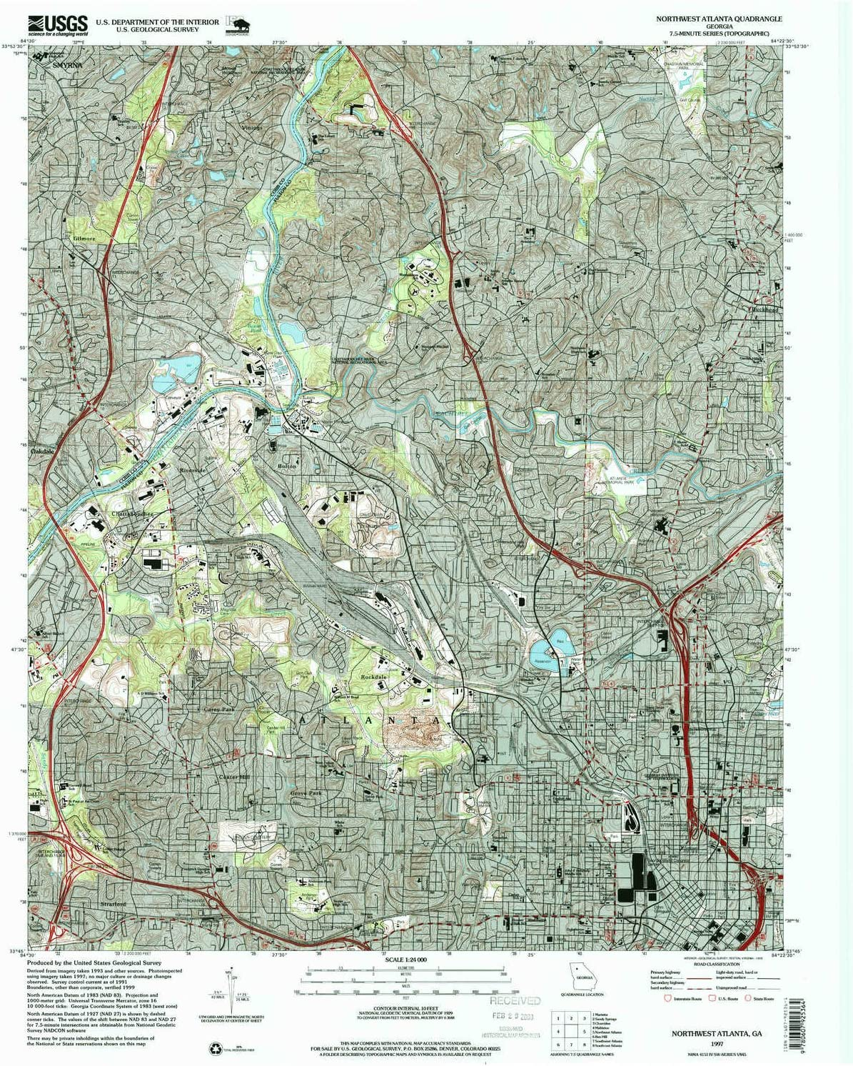 YellowMaps Northwest Atlanta GA topo map 7 7.5 1:24000 X Ranking TOP8 Scale Excellent