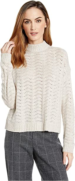 Long Sleeve Mock Neck Pointelle Stitch Sweater