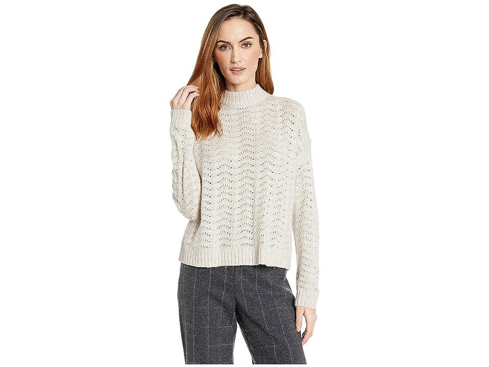 Lilla P Long Sleeve Mock Neck Pointelle Stitch Sweater (Oat) Women
