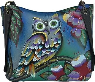 Women's Genuine Leather Medium Slouch Handbag | Hand Painted Original Artwork | Zip-Top Organizer | Midnight Peacock