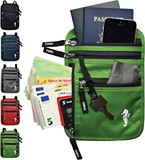 CANYLA Travel Passport Pouch Holder Wallet for Neck and Belt with RFID Blocking, for Men, Women and Kids. Waterproof Ripstop Nylon & Lightweight. Free Bonus Microfiber Cloth (Green)