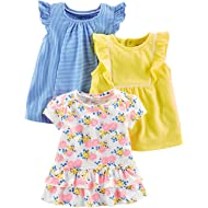 Toddler Girls' 3-Pack Short-Sleeve Shirts and Tops