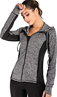 JUANGLA Women Yoga Jacket Full Zip Hooded Sports Running Jackets Training Lightweight Athletic Workout Track Jacket