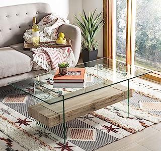 Safavieh Home Kayley Natural and Glass Coffee Table