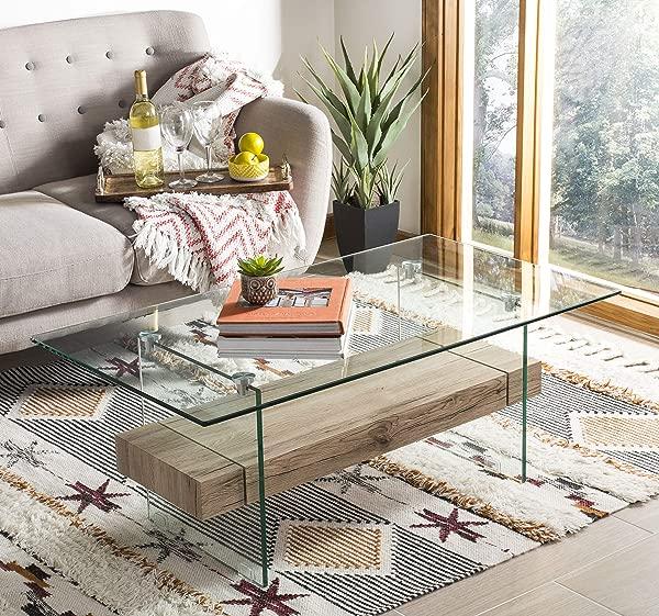 Safavieh COF7004A Home Collection Kayley Natural Rectangular Modern Glass Coffee Table