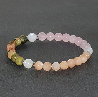 6mm Unakite, Peach Moonstone and Rose Quartz with 7mm Rainbow Moonstone Bracelet, Gemstone Bracelet, Healing Jewelry, Beaded Jewellery