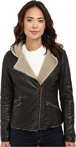Asymmetrical Faux Leather Hooded Moto w/ Sherpa