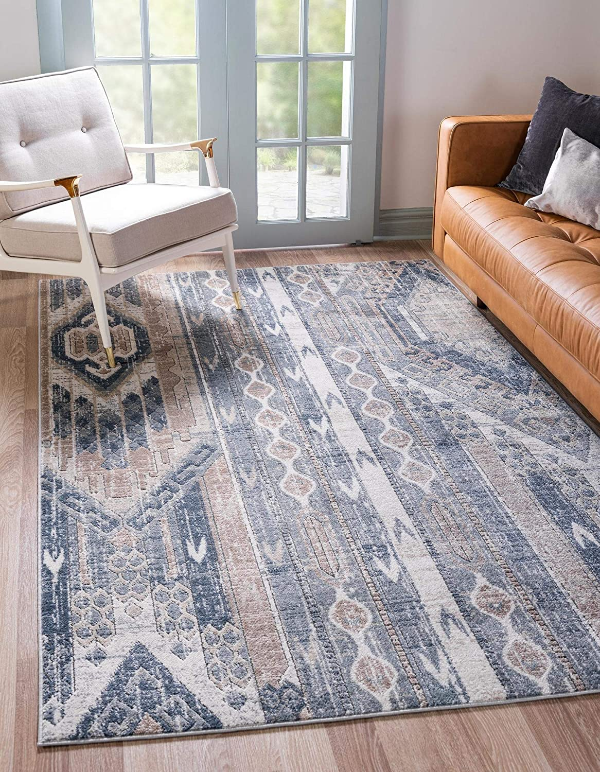 Rugs.com Oregon Collection Rug All stores are sold – 5' Low-Pile Blue Navy Cheap bargain 8' x