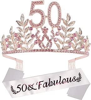 50th Birthday Party Decorations Supplies, 50th Princess Birthday Tiara Kit, Pink Rhinestone Birthday Crown, Pink 50th Birthday Tiara, 50 & Fabulous Pink Satin Sash, 50Th Birthday Cake Topper