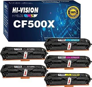 5-Pack HI-Vision Compatible HP 202X 202A CF500A CF500X Toner Cartridge Replacement for HP M281fdw M281cdw M254dw Laserjet ...