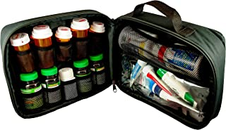 StarPlus2 Large Padded Pill Bottle Organizer, Case, Carrier for Medications, Vitamins, and Medical Supplies - for Home Storage and Travel - Black (Without Lock)