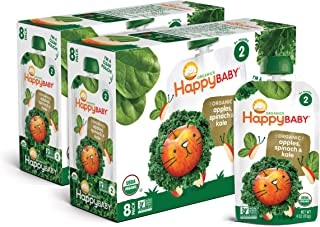 Happy Baby Organic Stage 2 Baby Food Simple Combos Spinach Apples & Kale, 4 Ounce Pouch (Pack of 16) Resealable Baby Food ...