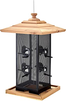 Copper Spade Cedar and Mesh Hanging Bird Feeder | 2 Gallons/16 Pound Capacity | 8 Perch Stands