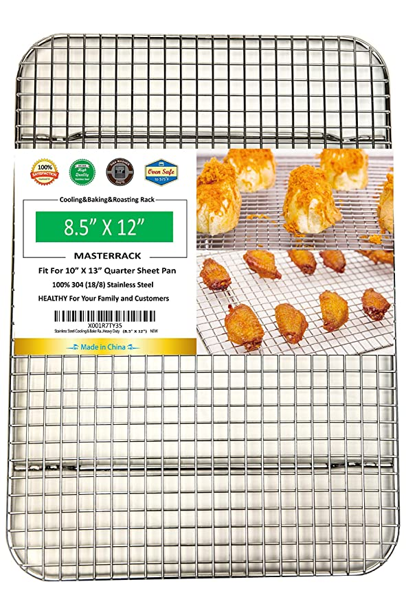 MASTERRACK 100% 304 Stainless Steel Cooling and Baking Rack fits Quarter Sheet Pan - Cool for bread, cake, cookie,bread .(8.5