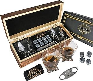 Eyozka Whiskey Glass Set Gift Box - Cigar Cutter and Whiskey Stones Included - Chilling Stones Gift Set - Scotch Bourbon G...