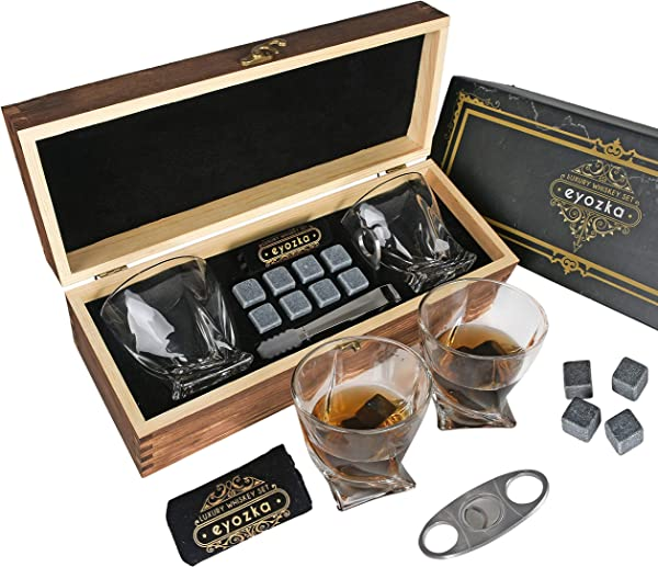 Eyozka Whiskey Glass Set Gift Box Cigar Cutter And Whiskey Stones Included Chilling Stones Gift Set Scotch Bourbon Glasses Bar Accessories Reusable Ice Cubes Unique Gifts For Men