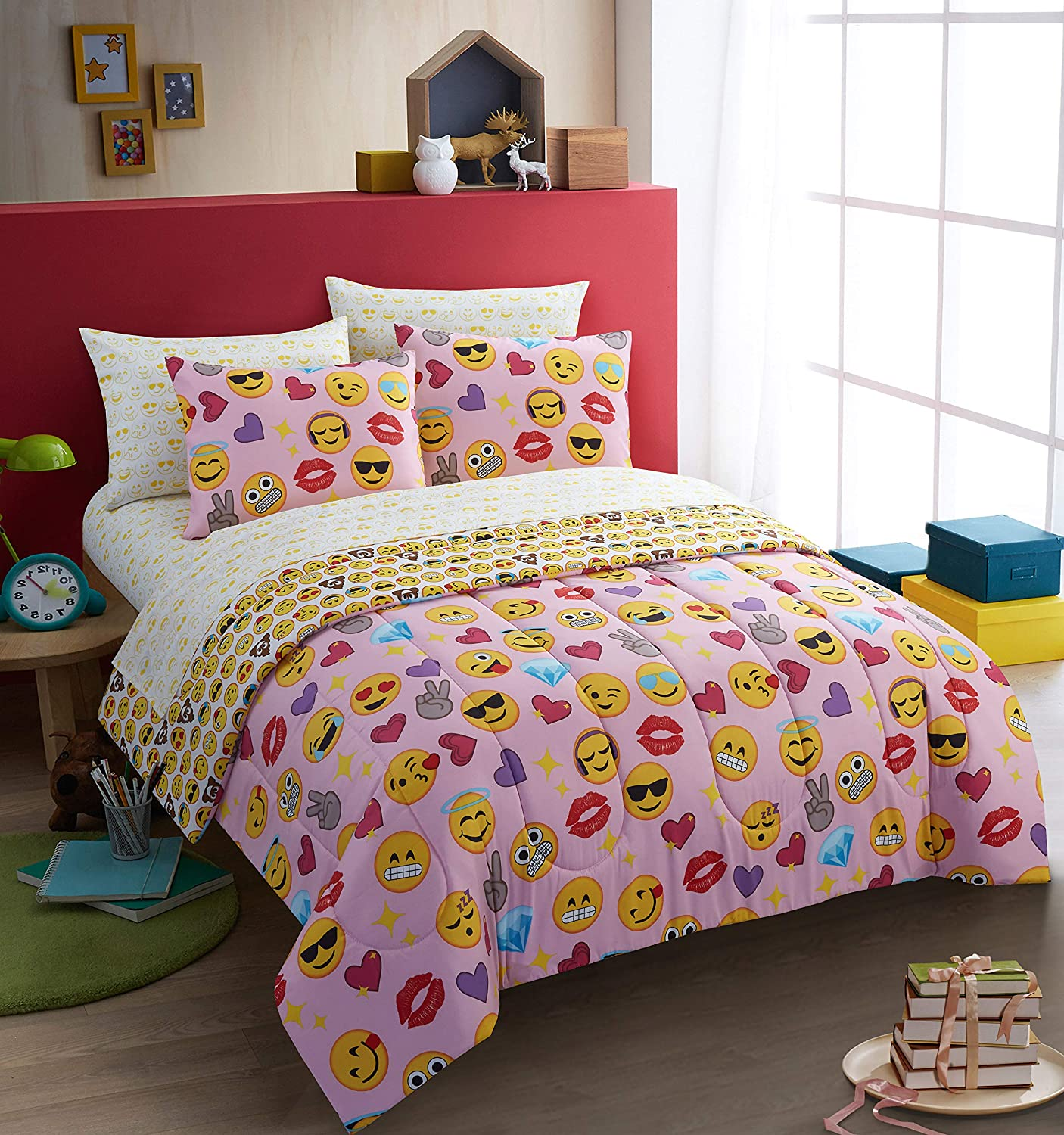 Emoji Pals Bling Bed in A Bag Light Pink, Twin