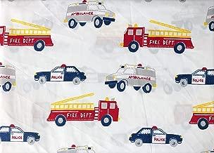 Authentic Kids 4pc Sheet Set Emergency Responder Vehicles Fire Trucks Ambulances Police Cars (Full)