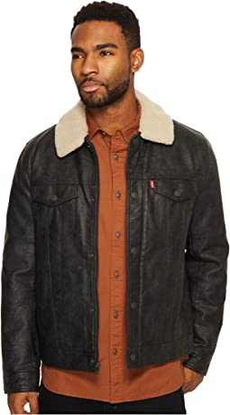 Levi's® - Faux Leather Trucker with Sherpa Collar and Polytwill Lining