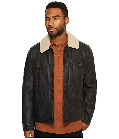 Leather Collar and with Trucker Lining Faux Sherpa Levi's® Polytwill 5qpXgwX