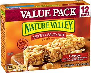 Nature Valley Granola Bars, Sweet & Salty Nut, Cashew, 7.4 Ounce (Pack of 2) - One Pack contains 6 Bars of 1.2 Ounce each
