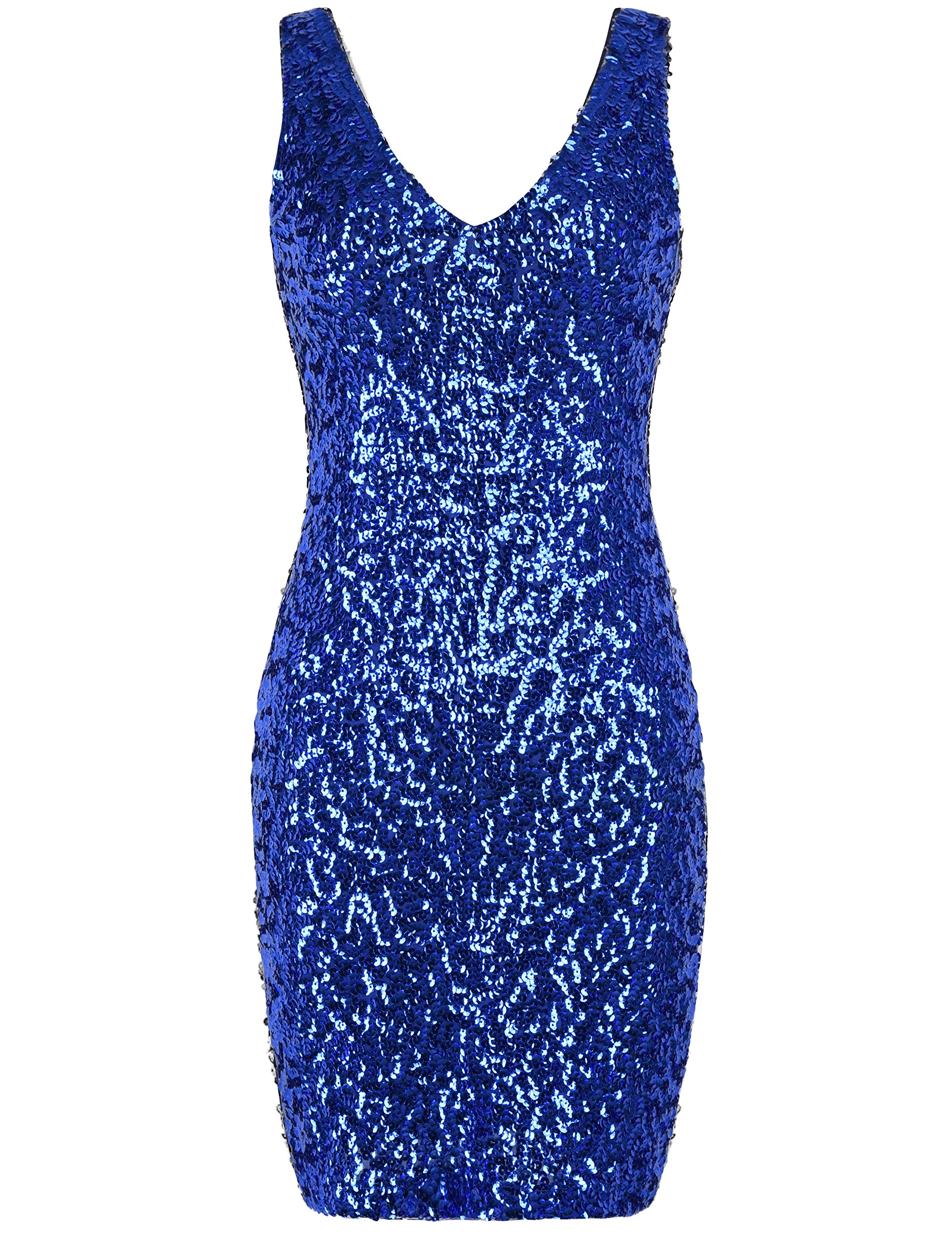 Available at Amazon: PrettyGuide Women's Sexy Deep V Neck Sequin Glitter Bodycon Stretchy Mini Party Dress