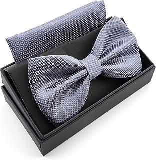 Massi Morino, Pajarita de microfibra (inkl. caja de regalo) moscas pre atadas para hombre con pañuelo de adorno