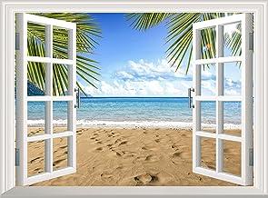Vinilo adhesivo para pared, diseño de palma, playa, océano, 3D, vinilo extraíble, decoración de papel pintado DIY (60 x 45...