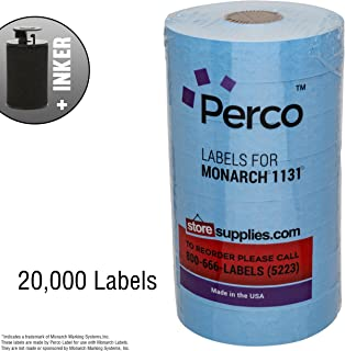 Blue Pricing Labels for Monarch 1131 Price Gun – 8 Rolls, 20,000 Pricemarking Labels – with Bonus Ink Roll
