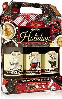 Jordan's Skinny Syrups Happy Holidays Gourmet Coffee Syrup Trio: Peppermint Bark, Christmas Cookie, Salted Caramel Mocha (One bottle of each flavor, 12.7 Oz Each)
