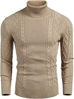 Men's Slim fit Turtleneck Sweater Casual Cable Knitted Pullover Sweaters