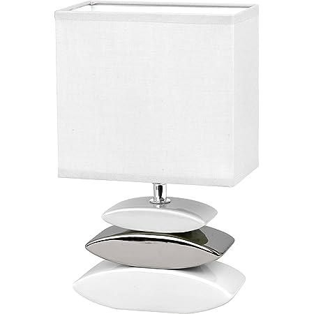 Honsel 53581 Lampe de table, E14, Silber, Weiß