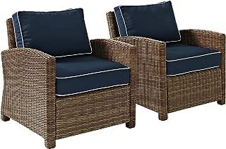Crosley Furniture Bradenton 2-Piece Outdoor Wicker Conversation Set with Cushions - Navy