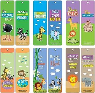Creanoso Bookmarks for Kids Boys Girls (60-Pack) - Safari Animals Motivational Sayings – Stocking Stuffers Classroom Incentives Teacher Rewards Birthday Party Favors Supplies