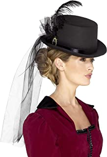Smiffys Deluxe Ladies Victorian Top Hat, Black, One Size