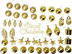 45-Pack Christmas Tree Ornaments Set - Assorted Gold Shatterproof Balls, Baubles, Pendants, Stars, Owls, Bells, Pine Cones, Gift Boxes, 10 Festive Holiday Designs, Winter Hanging Plastic Decoration