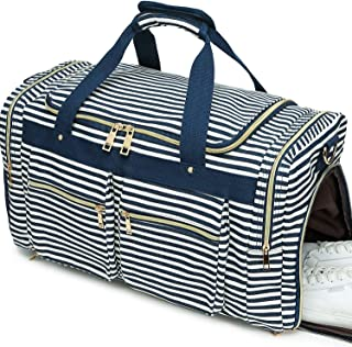 Weekender Overnight Duffel Bag Shoe Pocket for Women Men Weekend Travel Tote Carry On Bag, Stripe Blue White 0.6cm (Multicoloured) - B07RWTP93R