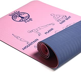 Bodie Yogi Non Slip Fitness Instructional Yoga Mat W Illustrated Poses, Eco Friendly, Non-Toxic, 24 X 72, 6mm Thick