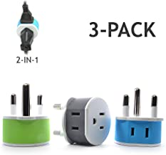 South Africa, Botswana, Namibia Power Plug Adapter with 2 USA Inputs - Travel 3 Pack - Type M (US-10L), Safe Grounded Use with Cell Phones, Laptop, Camera Chargers, CPAP, and More