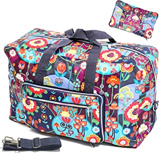 Large Foldable Travel Duffel Bag Cute Floral Tote Handbag Shoulder Weekend Overnight Carry On Luggage Duffle For Women Girls