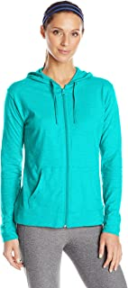 (Large, Eco Teal) - Hanes Women's Jersey Full Zip Hoodie