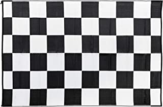Camco Black & White Checkered 42884 Reversible Outdoor Mat-6' X 9'