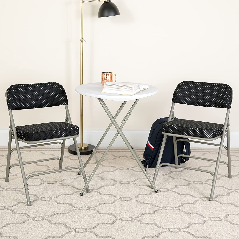 Flash Furniture 4 Pack HERCULES Series Premium Curved Triple Braced & Double Hinged Black Pin-Dot Fabric Metal Folding Chair
