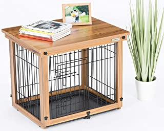 Simply Plus Wood & Wire Dog Crate with Slide Tray and Solid Wood Detachable Top Cover Indoor Pet Crate Side Table